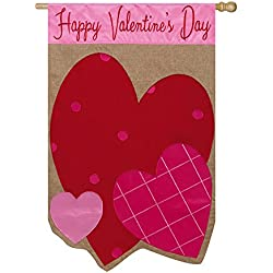 Happy Valentines Day Hearts Burlap House Flag