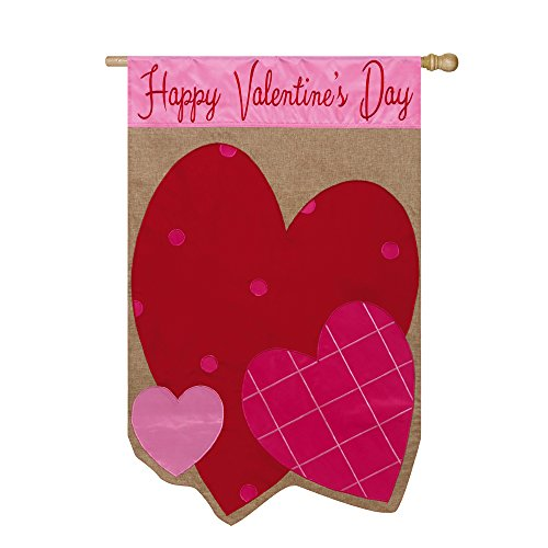 Evergreen Flag Happy Valentines Day Hearts Burlap House Flag