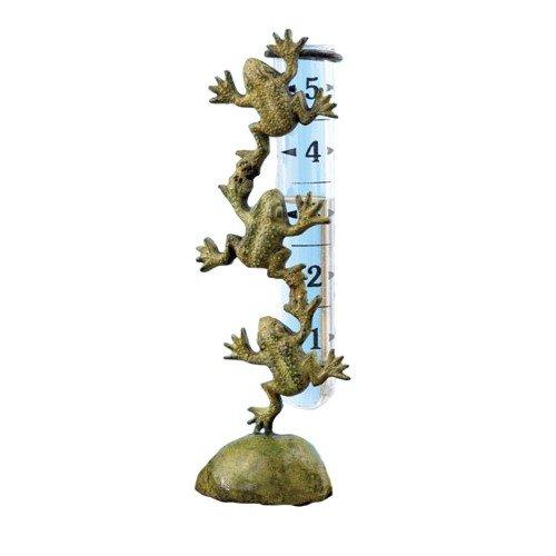 Ancient Graffiti Cast Brass Frog Rain Gauge