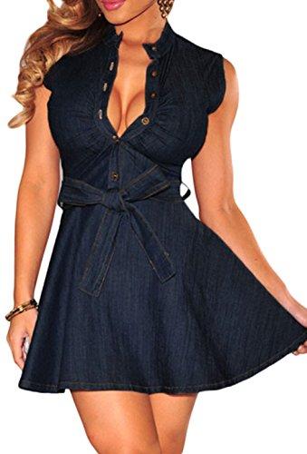 Buy belted denim dress - 1