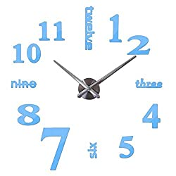Wall Clock Quartz Watches Fashion Watches 3D Real Big Wall Clock Brushed Mirror Sticker DIY Living Room Decoration 47 inches (Color : Blue)