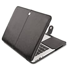 Mosiso PU Leather Book Folio Stand Case for MacBook Air 13 Inch (Models: A1466 and A1369) - Black