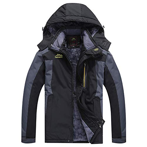 aliveGOT Men's Ski Jacket Fleece Snow Coat Rainwear Waterproof Hooded Warm Parka