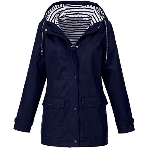YOCheerful Waterproof Full Sleeve Coat Women Solid Rain Jacket Outdoor Plus Raincoat Hooded Casual Windproof Outerwear Dark Blue