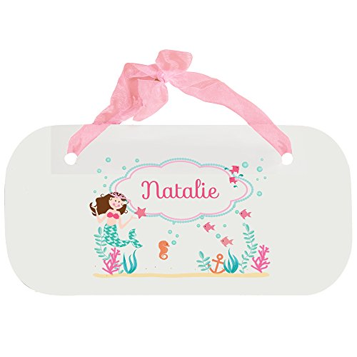 (Personalized Brunette Mermaid Princess Nursery Door Hanger Plaque with pink ribbon)