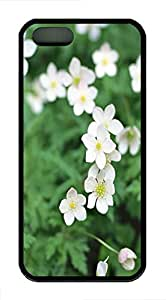 iPhone 5 5S Case White Wildflowers TPU Custom iPhone 5 5S Case Cover Black
