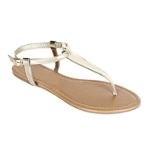 Red Circle Women's T Strap Thong Gladiator Strappy Jelly Shiny Flat Flip Flops Sandals (9, Gold) ()