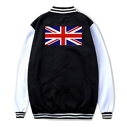 NJKM5MJ Unisex Youth Baseball Uniform Jacket British Flag Hoodie Coat Sweater Sweatshirt, Back ()
