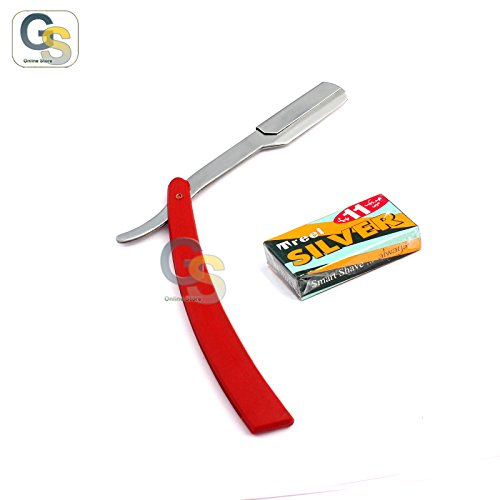 G.S MANUAL FOLDING SHAVING KNIFE BEARD CUTTER SHAVER STRAIGHT EDGE BARBER RAZOR RED UP TO 22 BLADES (SET OF 11 BLADES) BEST QUALITY