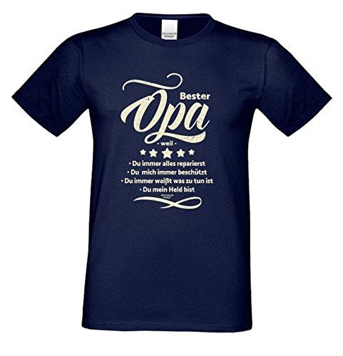 Großvater Fun-T-shirt als Top Geschenk mit GRATIS Urkunde - Bester Opa weil Farbe: navy-blau Gr: 4XL