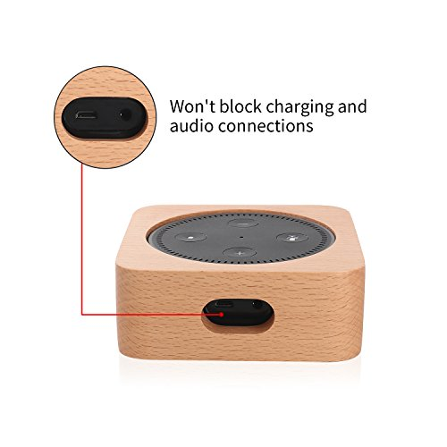 CamRom Natural Solid Wood Stand For Amazon Echo Dot【2nd Generation】, Solid Wood Speaker Holder Docking Station for Alexa, Protective Case Made from Beech Wood, Saving Space on Nightstand or Tables by CamRom (Image #4)