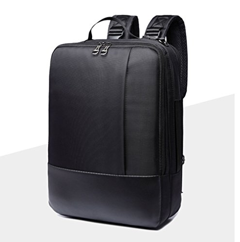 14/15.6 inch Multi-function Convertible Laptop Messenger Computer Bag Single-shoulder Backpack Briefcase Oxford and PU Leather Waterproof Multi-Compartment For iPad Pro Macbook Men and Women (Black-1) (Multi Messenger)
