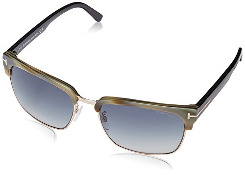 Tom Ford FT0367 River Vintage Square Horn Blue Lens Sunglasses TF367 60B - Square Sunglasses Ford Tom