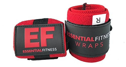 Essential Fitness v2 Red Wrist Wraps: Perfect for Powerlifting, Bodybuilding, Crossfit and General Weight Lifting. Superior Wrist Support for Weight Training