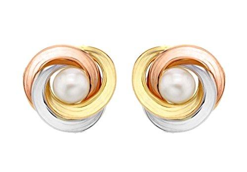 9ct 3Couleur or Perle de bagues et boucles d'oreille à tige