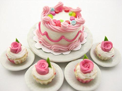 Dollhouse Miniatures Food Cake & Rose Cupcake Ceramic Plate Supply Set 13377