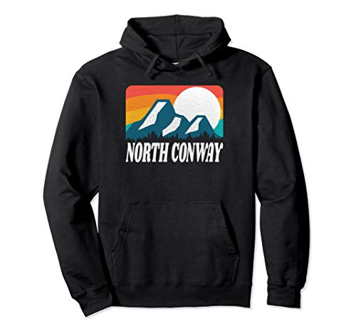 North Conway New Hampshire Retro Rainbow Mountain Pullover Hoodie
