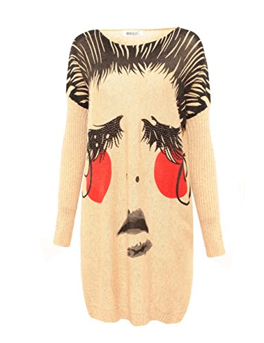 Vogue of Eden Women's Plus Size Painting Face Pattern Crew Neck Pullover Sweaters Beige
