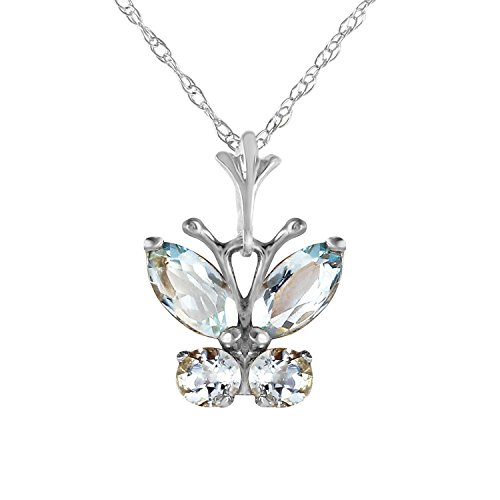 Galaxy Gold 14k Solid White Gold Necklace with 0.60 Carat (CTW) Natural Aquamarine Butterfly Pendant