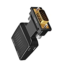 VGA to HDMI Adapter, Jmday 1080p VGA Male to HDMI Female Video Audio Converter with USB Cable and 3.5mm Audio Cable for Apple ASUS Dell Acer PC Monitor Projector TV
