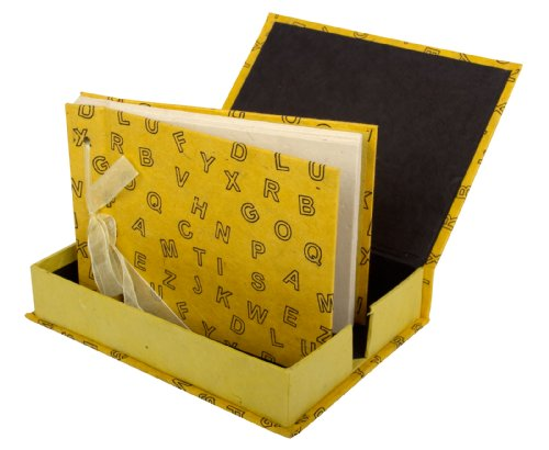 Lokta Box - Photo Album Handmade (Boxed) - Lokta Paper with Screen Printed Letters - Yellow
