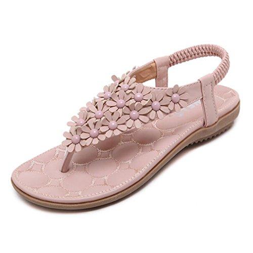 U-MAC Womens Flat Sandals Summer Rhinestone T-Strap Bohemian Floral Flip Flop Low Heel Shoes - Ivory T-strap Sandal