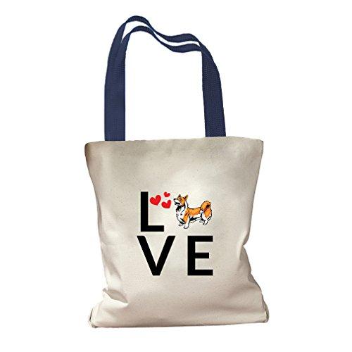 Love Hearts Welsh Corgi Pembroke Dog Canvas Colored Handles Tote Bag - Royal - Center Pembroke Shopping