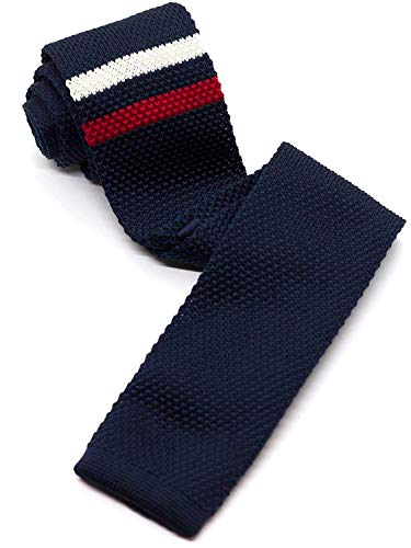 WANDM Men's Knit Tie Slim Skinny Square Necktie Width 2.2 inches Washable Stripe Pattern Double Line White and Red on Navy Blue