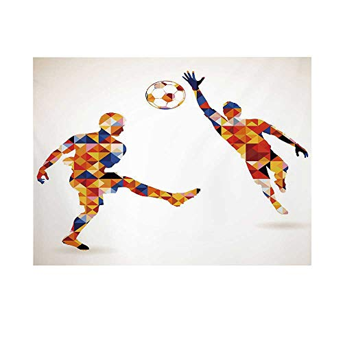 Sports Photography Background,Abstract Decor with Football Soccer Players in Geometrical Colorful Shapes Print Backdrop for Studio,7x5ft (Best Byu Football Players)