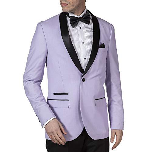 - Adam Baker West End by Men's 9-3417 Slim Fit One Button Satin Shawl Collar 2-Piece Tuxedo Suit - Lavender-38R