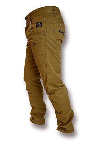 Hommes Crosshatch Kractus Jeans Tordu Multi Poche Cinche Jeans Coupe Slim Chiné - Brun Clair, 46 standard