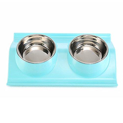 Comederos Doble Para Perros De Acero Inoxidable y plástico Tazón De Mascota Alimentador Del Animal para Comer en Casa AZUL