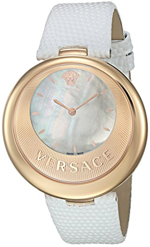 Versace Women's 'PERPETUELLE' Swiss Quartz Stainless Steel and Leather Casual Watch, Color:White (Model: VAQ020016)