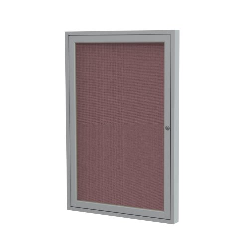 1 Door Enclosed Bulletin Board Surface Color: Merlot, Size: 3' H x 3' W, Frame Finish: Satin for sale