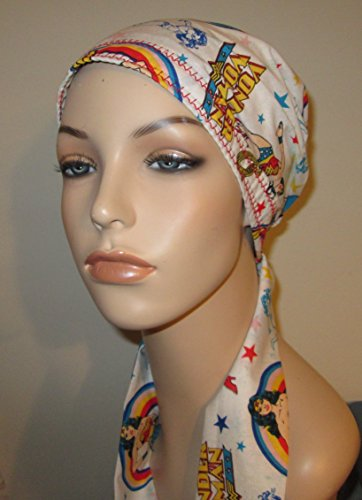 newest-wonder-woman-print-pretied-scarf-chemo-hat-alopecia-head-cover-cancer-scarf