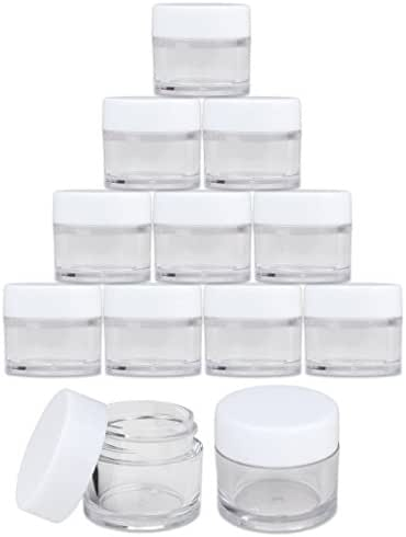 Beauticom High-Graded Quality 7 Grams/7 ML (Quantity: 24 Packs) Thick Wall Crystal Clear Plastic LEAK-PROOF Jars Container with White Lids for Cosmetic, Lip Balm, Lip Gloss, Creams, Lotions, Liquids