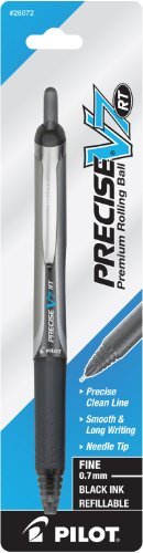 Pilot Precise V7 RT Retractable Rolling Ball Pen, Fine Point, Single Pen, Black Ink (26072)