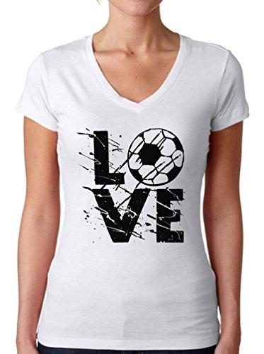 Awkward Styles Women's LOVE Soccer Graphic V-neck T shirt Tops White - V-neck Tee Football