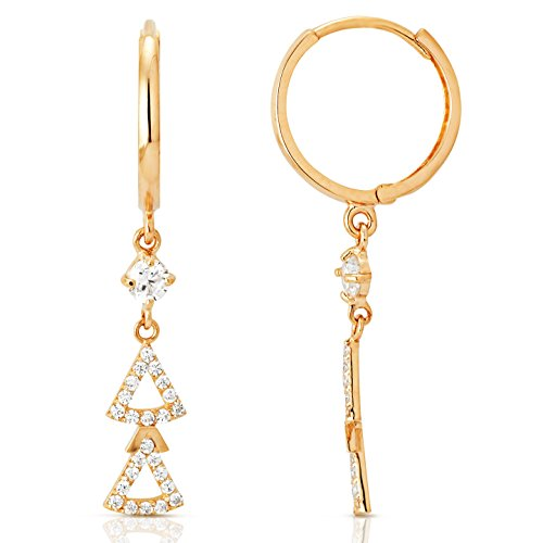 Triangle Skirt CZ Dangling Earrings in 14K Yellow Gold by Jewel Connection