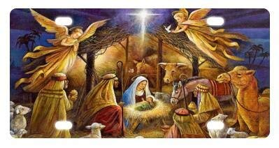 BIN SHANG Best Design Christmas Nativity Holy Family, Tree-Three Wisemen Christmas Metal License Plates Front Car 12