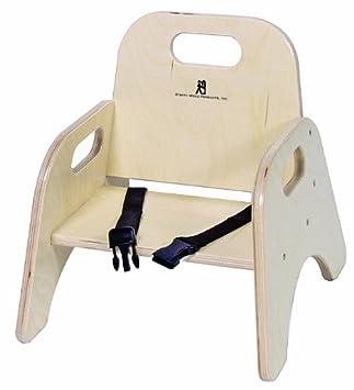 Amazon.com: Madera aula bebé silla apilable con correa ...