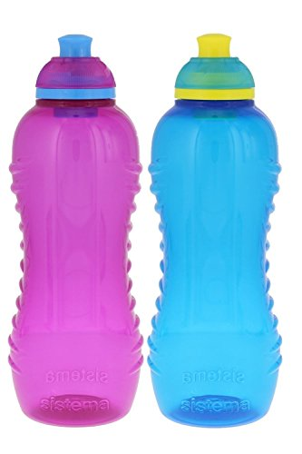 Sistema Lunch Twist 'n' Sip Water Bottle, Pink/Blue, 15.5 - Kids Twist
