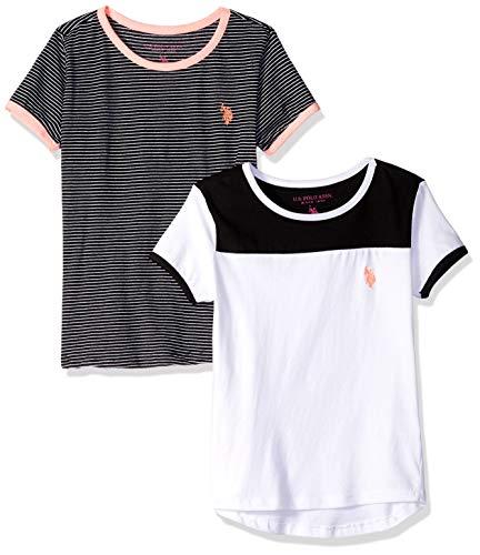 U.S. Polo Assn. Girls' Big 2 Pack T-Shirt, Crew Neck Stripes Black White Multi, 14/16 (Justice Girls Shirts)