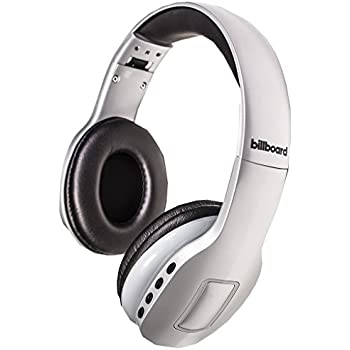 Billboard Bluetooth Wireless Folding Headphones With Enhanced Bass, Controls, and Microphone - White