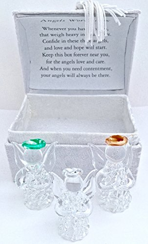 Angel Worry Box w/3 Glass Angels