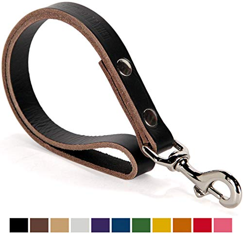 Logical Leather Traffic Lead - Full Grain Heavy Duty Genuine Short Leather Leash Best for Large Dogs - Black