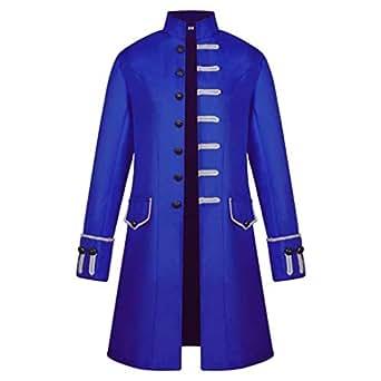 BBestseller Hombres Chaqueta Primavera,Vintage Abrigo Largo Delgado de Manga Larga Botones Gótico Steampunk Sudadera Overcoat Outwear (XXXL, Azul)