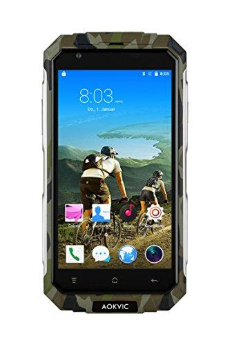 Aokvic ® V9+ Staubdicht Stoßfest Robuste Ohne Vertrag Smartphone Android 5.1 Quad Core 8G ROM 5.0 Zoll QHD 3G GSM Dual SIM GPS AGPS Outdoor Shockproof Hiking Entsperrt handy Gratis Geschenk 16GB SD Card (Camo)