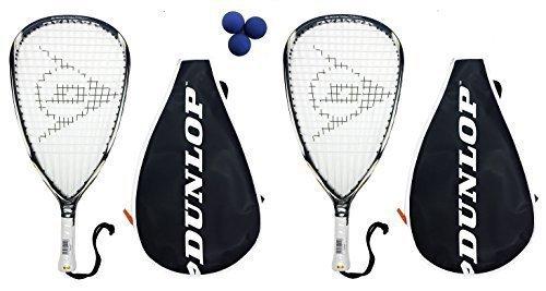 2 x Dunlop Blackstorm Titanium Racketball Rackets + 3 Balls