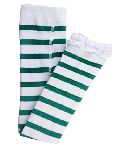RuffleButts Little Girls Emerald Green Stripe Footless Ruffle Tights - Emerald/White - (Green And White Striped Leggings)